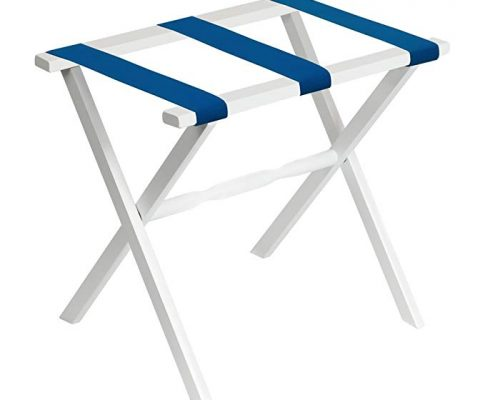 Gate House Furniture White Wood Folding Luggage Rack with Straight Legs with Bright Blue Straps Review