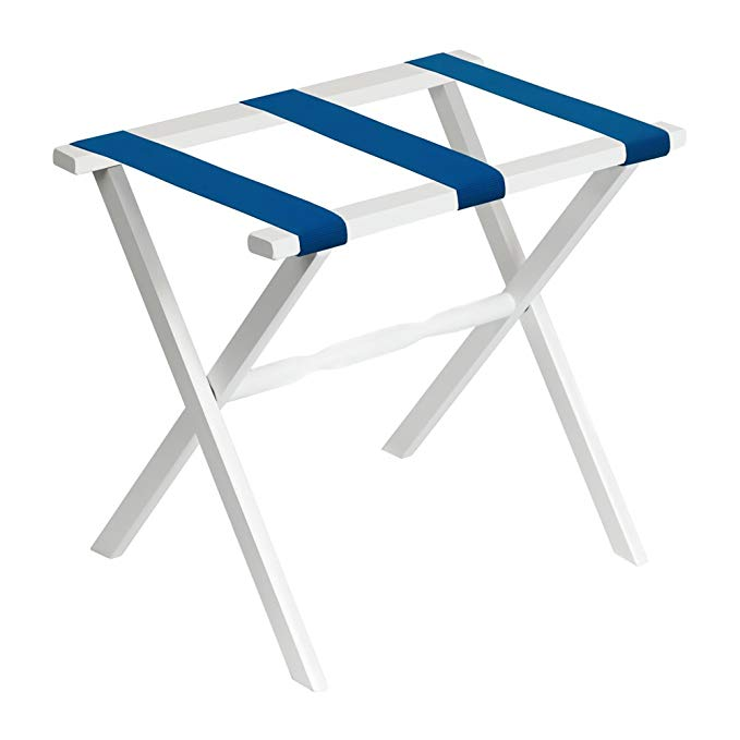 Gate House Furniture White Wood Folding Luggage Rack with Straight Legs with Bright Blue Straps