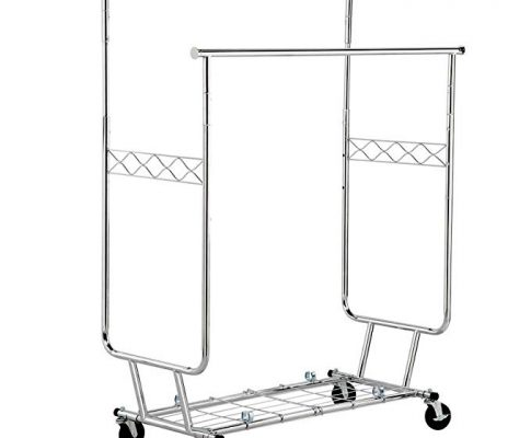 Yaheetech Commercial Grade Rolling Garment Drying Rack Collapsible Heavy Duty Double Rail Clothing Hanging Rack W/Shelf,Chrome Finish Silver Review