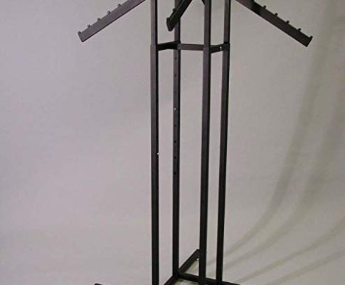 4 WAY SQUARE TUBE RACK WITH 4 WATERFALL FLAG ARMS-TEXT BLK-Lot of 1 Review