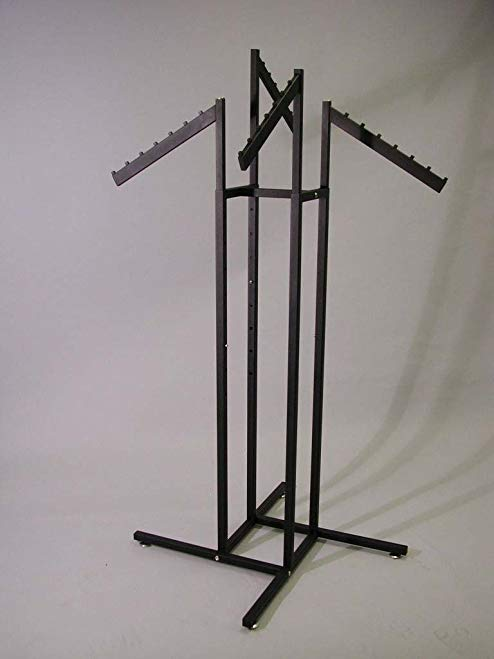 4 WAY SQUARE TUBE RACK WITH 4 WATERFALL FLAG ARMS-TEXT BLK-Lot of 1