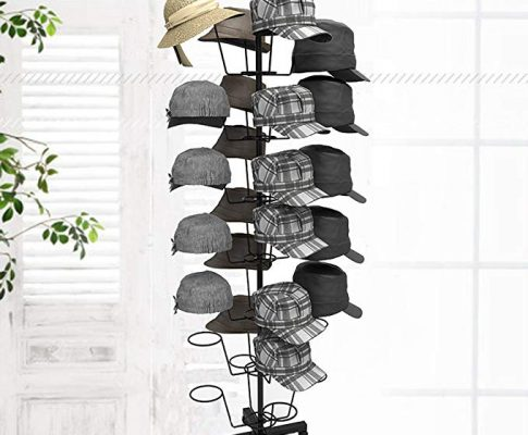 Miageek Rotating Cap Rack – Holds up to 35 Caps for Baseball Hats, Ball Caps – Adjustable Retail Hat Rack/Wig Display Stand (Black) Review