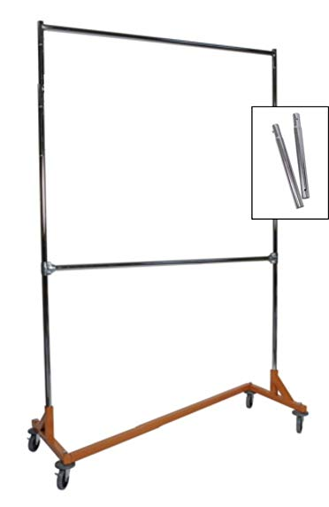 Extended Height Double Rail Rolling Z Rack Garment Rack with Orange Base