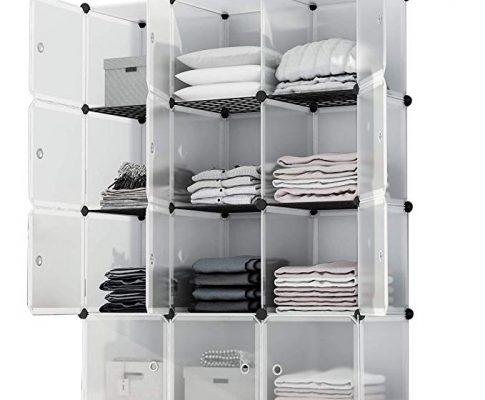 KOUSI Portable Storage Shelf Cube Shelving Bookcase Bookshelf Cubby Organizing Closet Toy Organizer Cabinet, Transparent White, 12 Cubes Storage Review