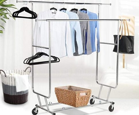 Topeakmart Commercial Grade Adjustable Double-Rail Clothing Hanging Rack on Wheels Rolling Garment Rack Drying Rack w/wheels,Chrome Finish Review