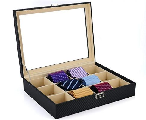 Tie Display Case for 12 Ties, Belts, and Men's Accessories Black Carbon Fiber Storage Box Review