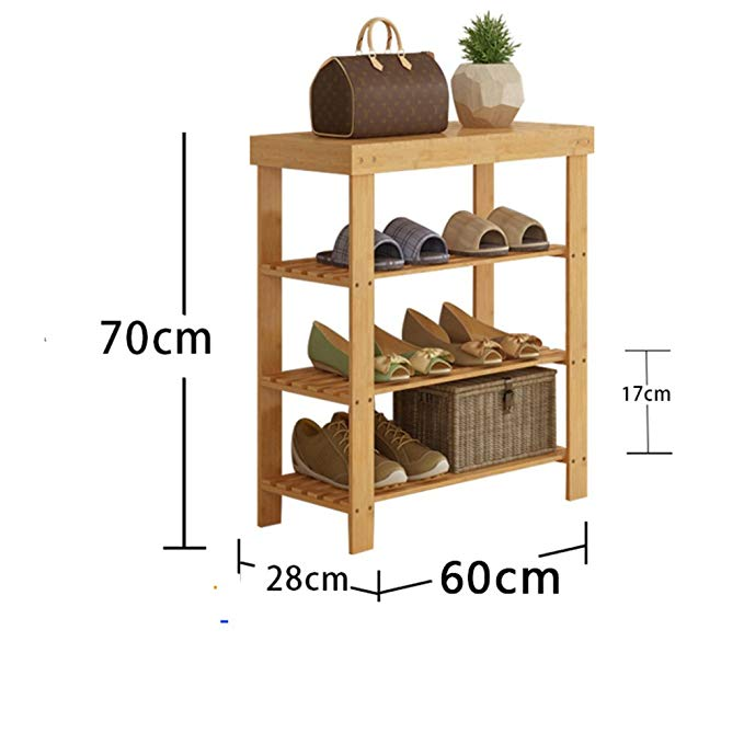 DULPLAY Shoe rack,Bamboo shoe rack,Entryway shoe shelf Change the shoes stool Stand shelves Stackable Entryway bedroom 2-4 tier 9-18 shoes -L 70x28x60cm(28x11x24inch)