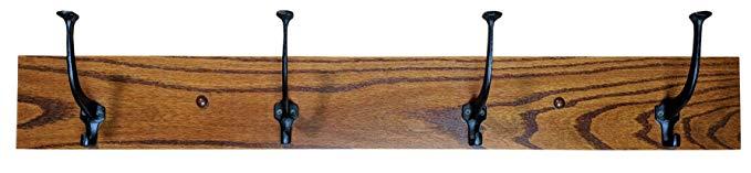 Wood Coat Rack Hanger Wall Mounted, Mission, 4 Hook, Oak Wood, Michaels Stain, 4