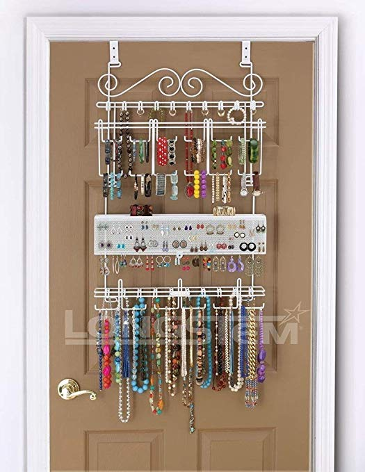 Longstem Organizers Over-Door/Wall Jewelry Organizer, Rated Best Unique Patented Product, White