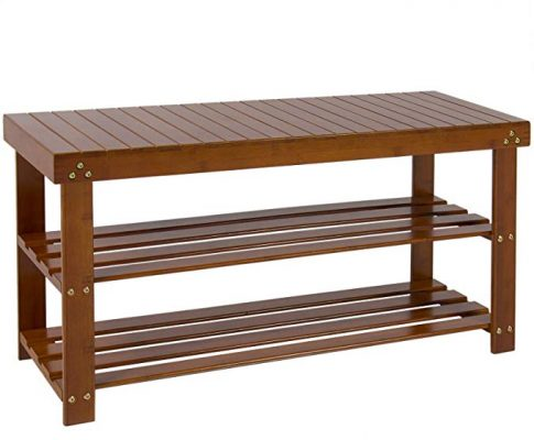 Best Choice Products 3-Tier Multipurpose Bamboo Shoe Boot Footrest Rack Shelf Storage Organizer Bench for Living Room, Entryway, Bedroom w/Cherry Wood Finish – Brown Review