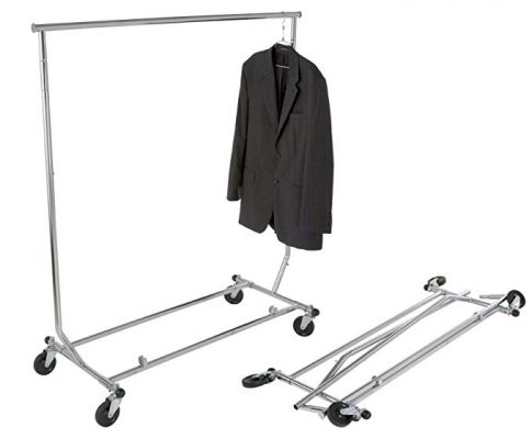Collapsible Single Bar Rolling Clothing Garment Salesman Rack SWF by CS Fixture Review