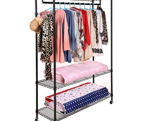 (US Stock)Free Standing 3-Tier Portable Rolling Clothes Wardrobe Garment Rack with Double Rod,Heavy Duty Clothes Rack Closet Hanger Storage Organizer (black one pair hooks one hanging rods) Review