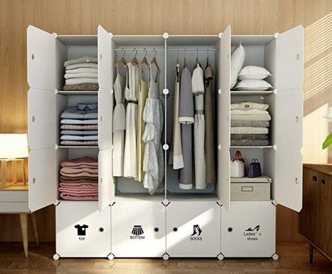 MAGINELS Magicial Panels Wardrobe Portable Clothes Closet Bedroom Armoire Dresser Cube Storage Organizer, Capacious & Customizable, White, 10 Cubes & 2 Hanging Sections Review
