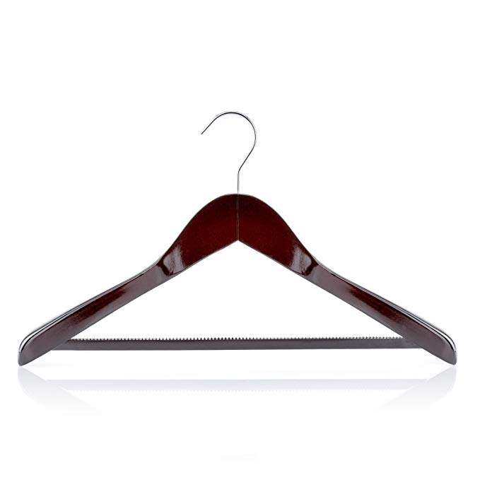 "Hangerworld Pack of 5 Premium Mahogany Wooden Suit Coat Clothes Hangers with Non-Slip Trouser Bar 45cm (17.7"")"