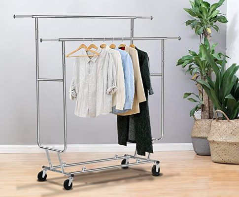 TANGKULA Commercial Grade Collapsible Clothing Rolling Double Garment Rack Hanger Holder Review