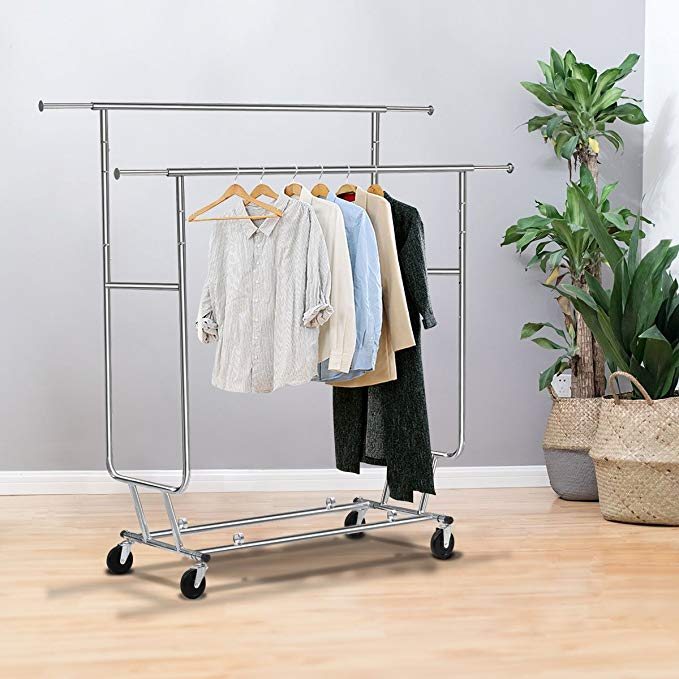 TANGKULA Commercial Grade Collapsible Clothing Rolling Double Garment Rack Hanger Holder