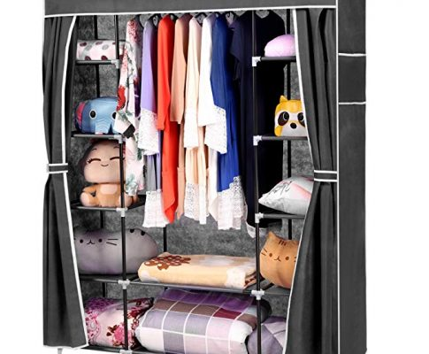 Wakrays Portable Clothes Closet Wardrobe Storage Organizer with Curtain and 12 Shelves Review