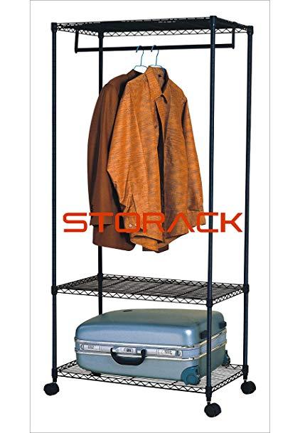 Storack 3 Tier Rolling Storage Closet Shelf Organizer, Black