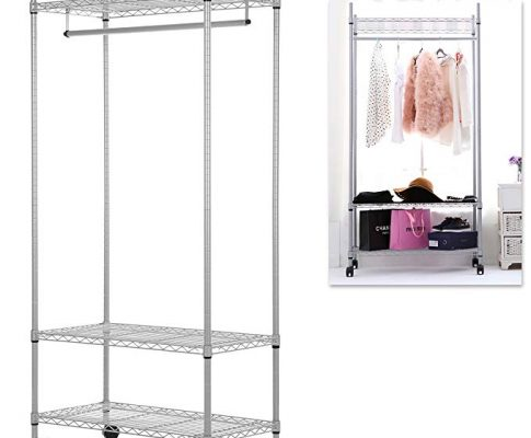 Deluxe Metal Rolling Adjustable Hanging Clothes Rack / Retail Garment Display Hang Rail w/ 3 Shelves Review
