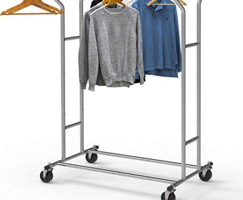 Simple Houseware Heavy Duty Double Rail Clothing Garment Rack, Chrome Review