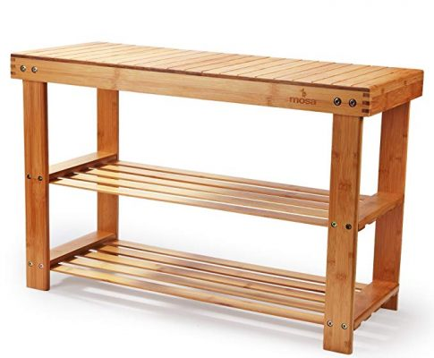 Natural Bamboo Entryway Bench (27.6″ X 11.2″ X 17.9″), Mosa Hallway Wood Shoe Bench Wooden Shoe Rack Bedroom Review