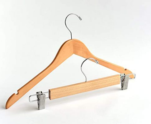 Adult Natural Notched Mix Wooden Hangers, Mix 80 Top 20 Bottom – Economy Series Review