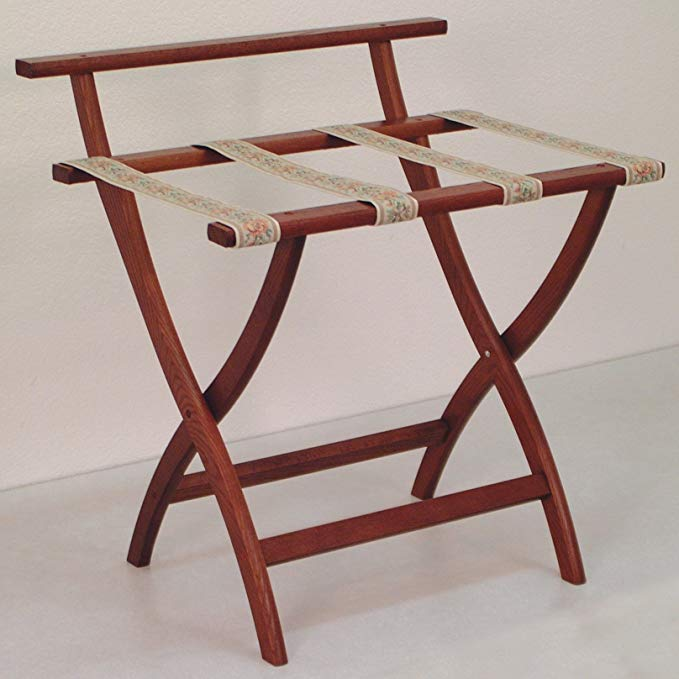 Wooden Mallet WallSaver Luggage Rack, Mahogany, Brown Straps