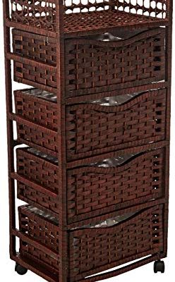 Oriental Furniture 38″ Natural Fiber Chest of Drawers on Wheels – Mocha Review