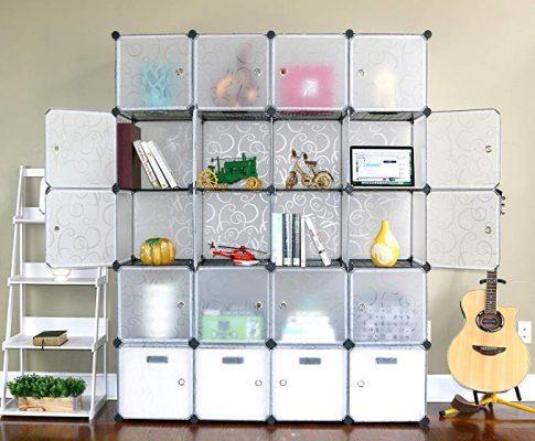 UNICOO – Multi Use DIY 20 Cube Organizer, Wardrobe Closet, Bookcase, Storage Cabinet with Design Pattem – (Regular Cube, Semitransparent) Review