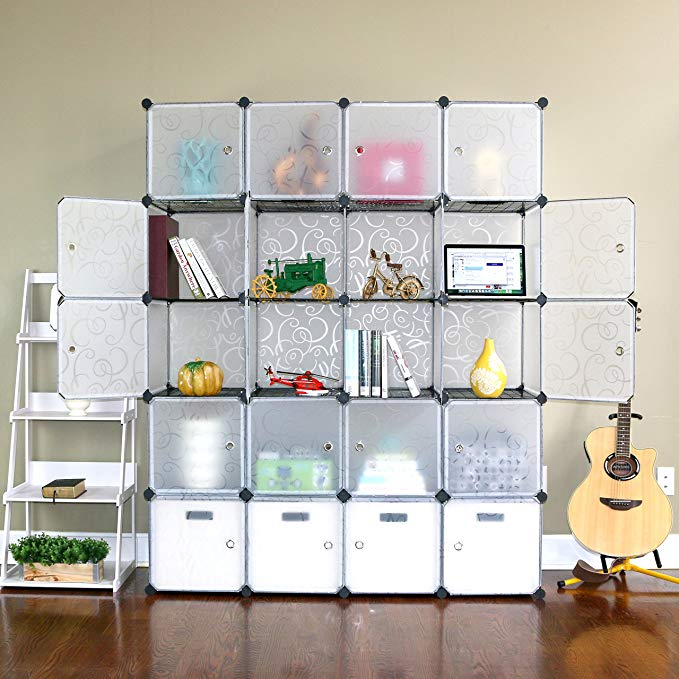 UNICOO - Multi Use DIY 20 Cube Organizer, Wardrobe Closet, Bookcase, Storage Cabinet with Design Pattem - (Regular Cube, Semitransparent)