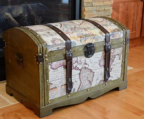 Victorian Ancient World Map Wooden Trunk Wood Treasure Chest – Medium Review